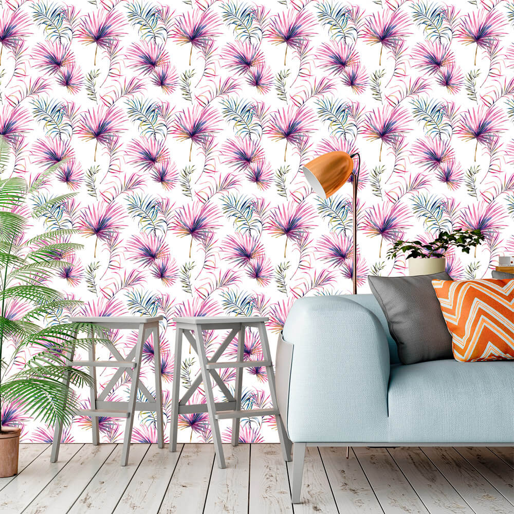 Papel de Parede Floral Folhas Lilas