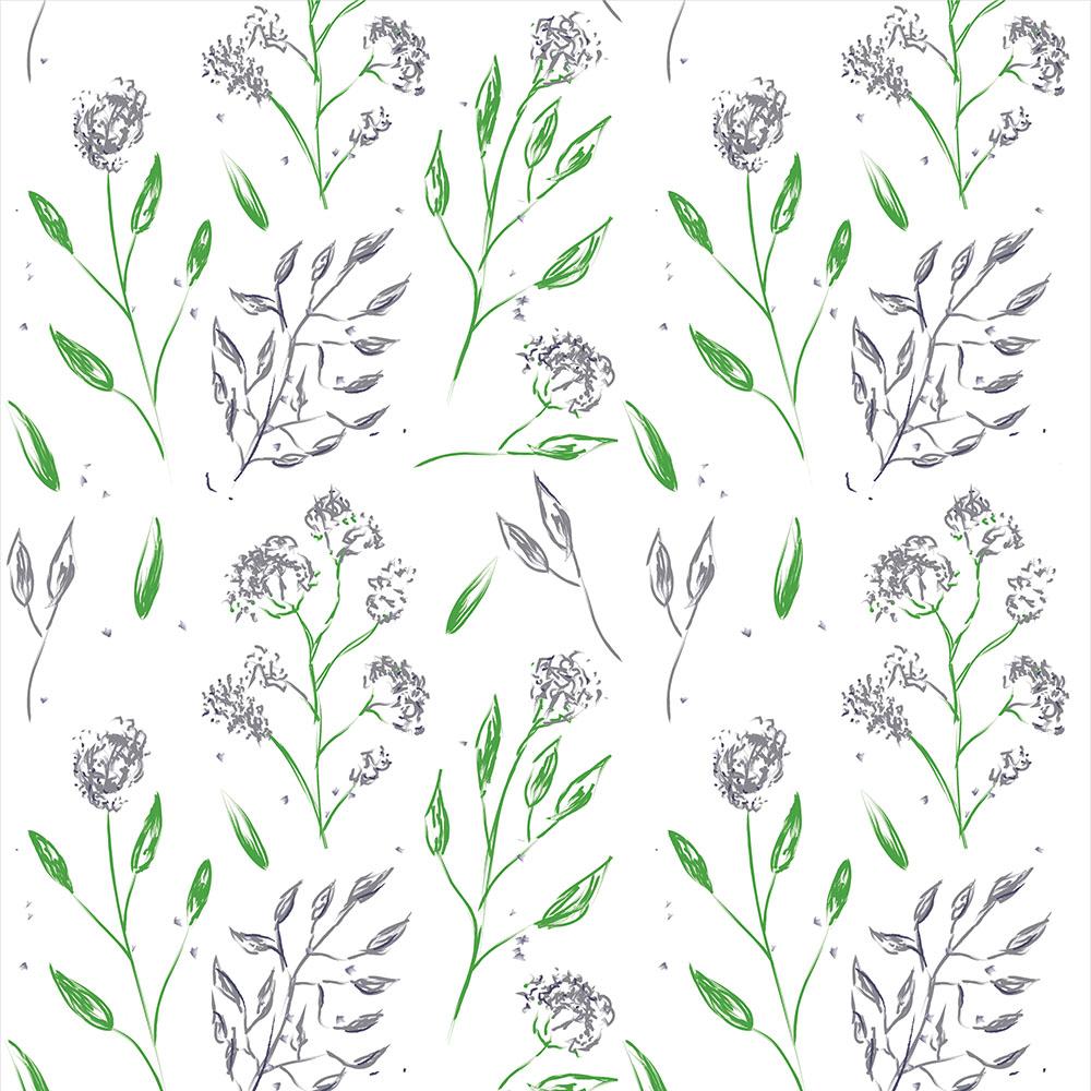 Papel de Parede Floral Galhos Verde e Flores Cinza