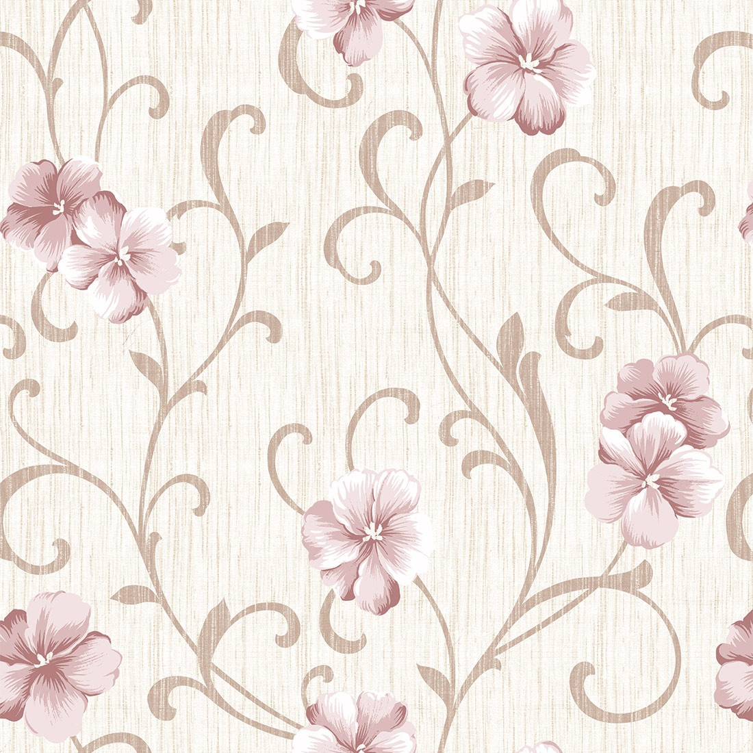 Papel de Parede Floral Glamour Rosa Tons Neutros