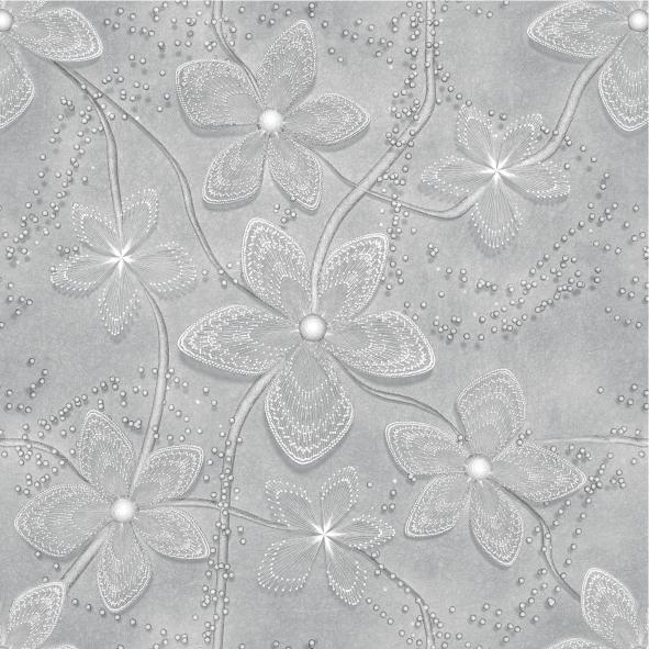 Papel de Parede Floral Harmonia Cinza