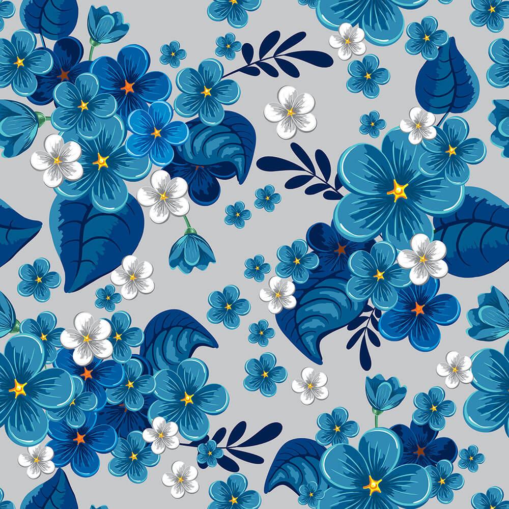 Papel de Parede Floral Jardim Azul Fundo Cinza