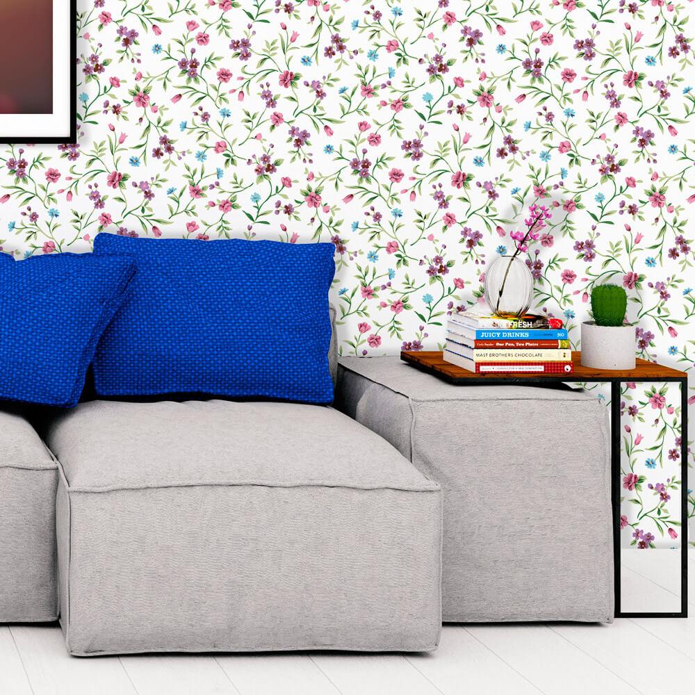 Papel de Parede Floral Lilás e Azul