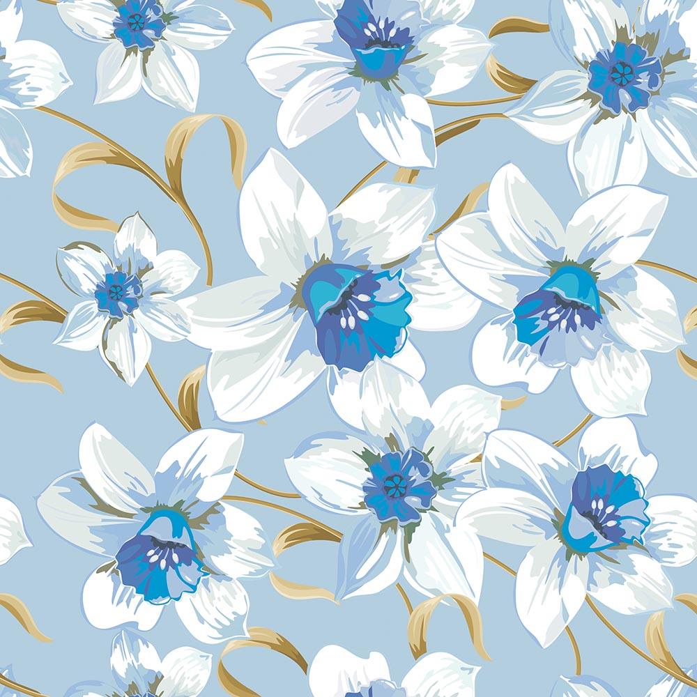 Papel de Parede Floral Lírio Azul