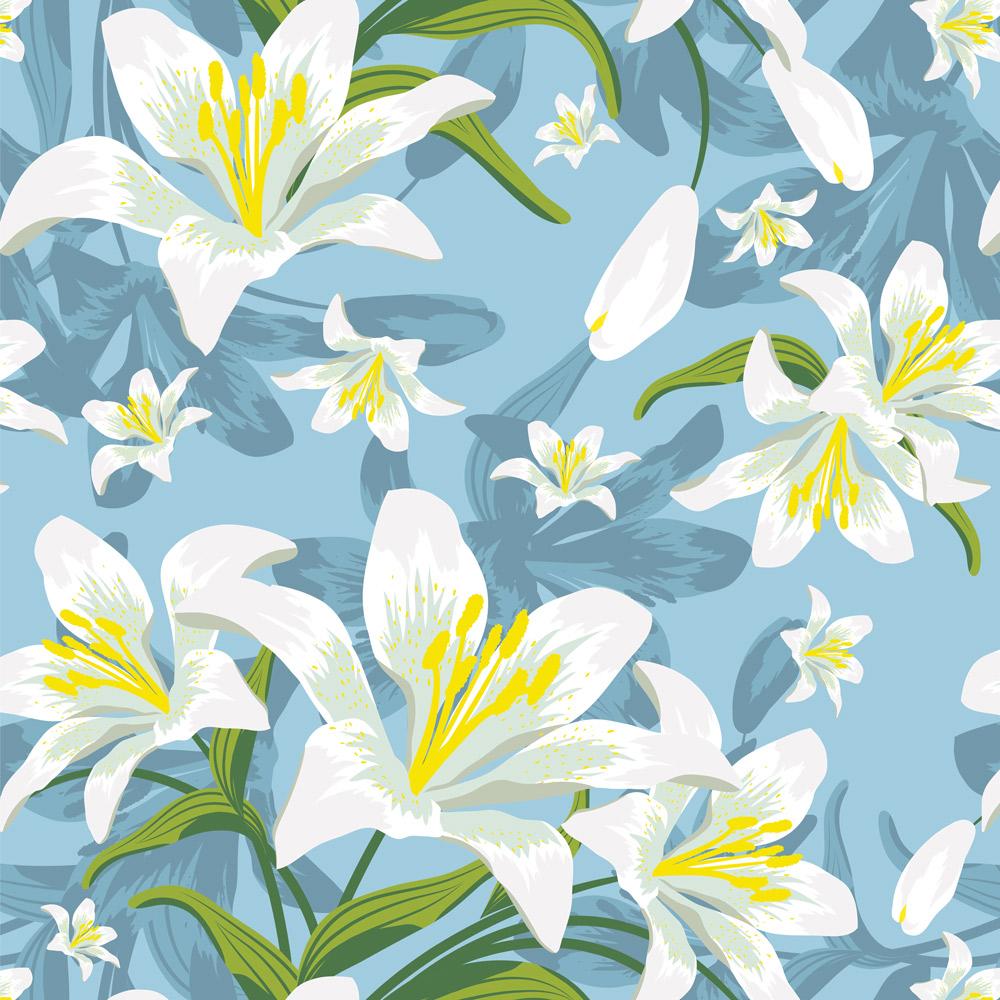 Papel de Parede Floral Lírio no Azul