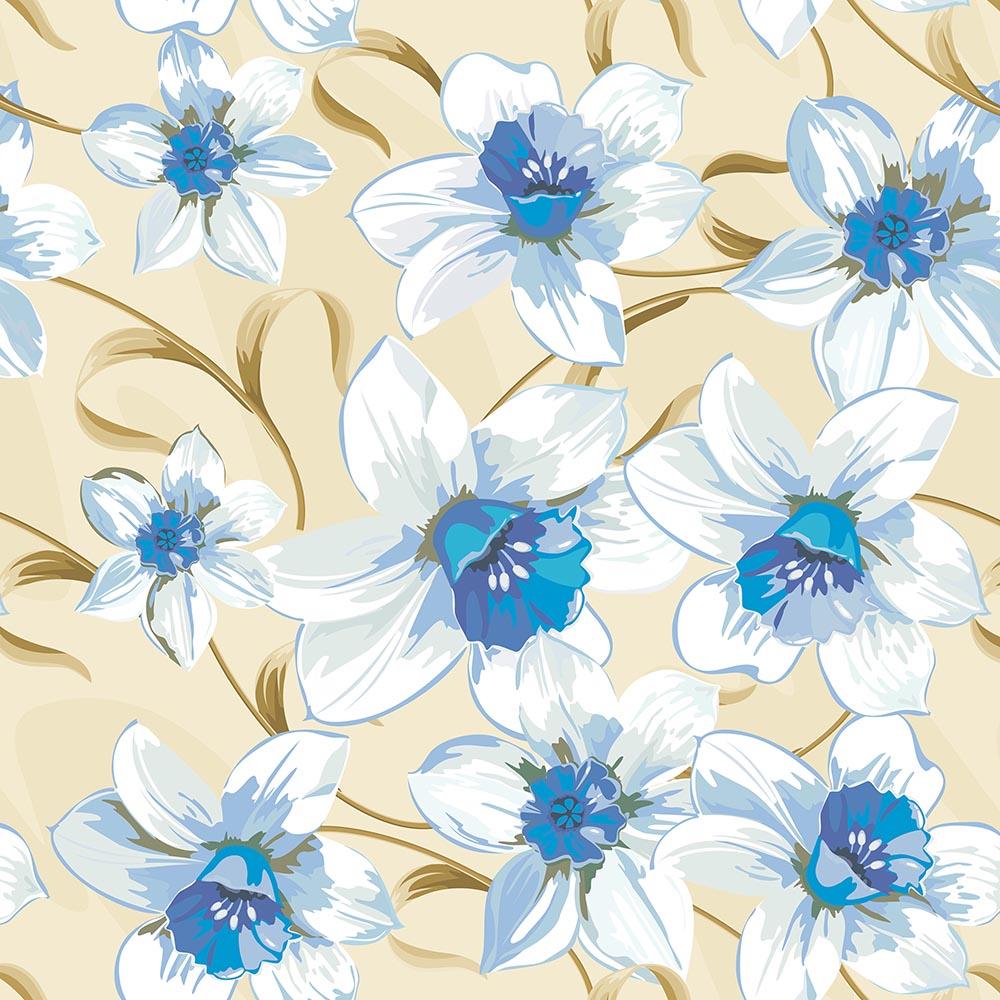 Papel de Parede Floral Lírios Azul Fundo Bege