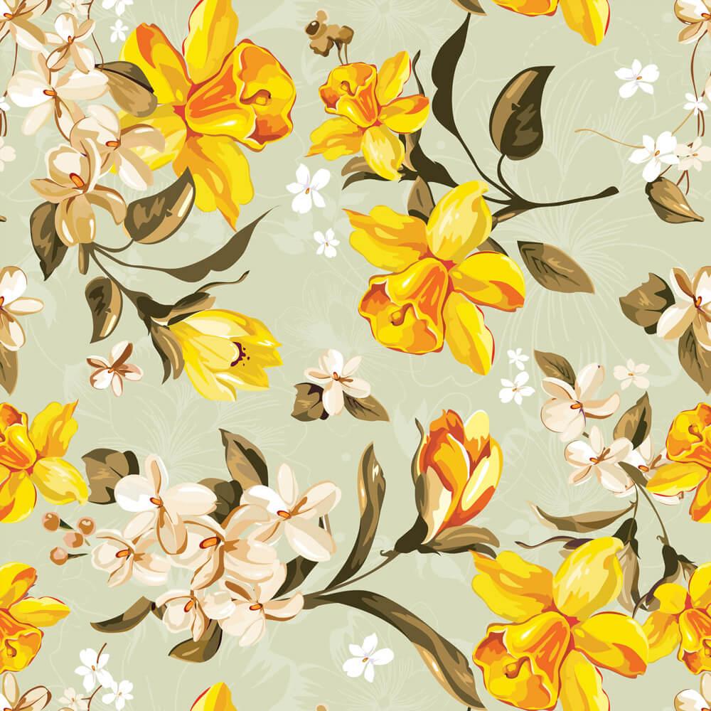 Papel de Parede Floral lírios do Vale Amarelo