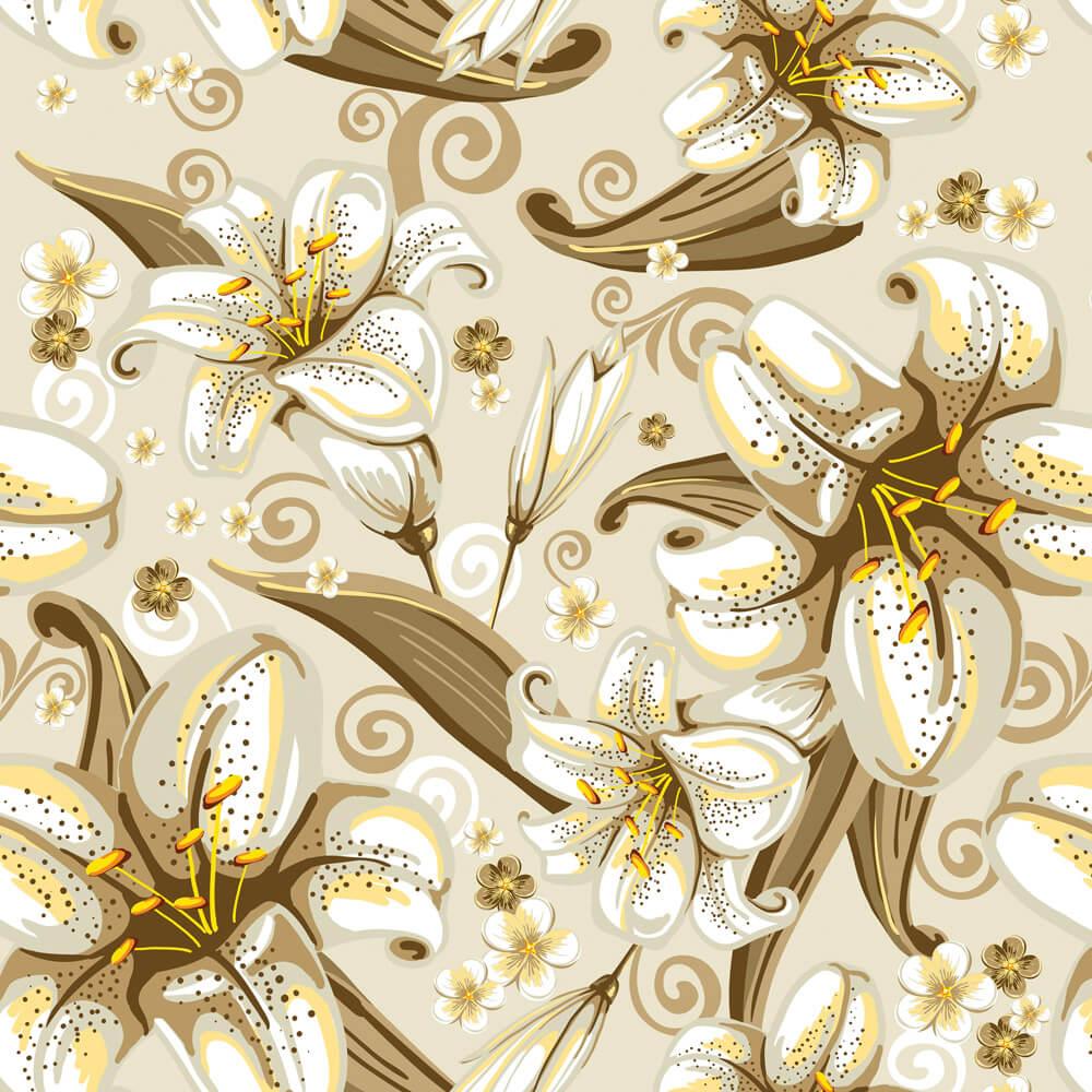 Papel de Parede Floral Lírios do Vale Marrom e Amarelo