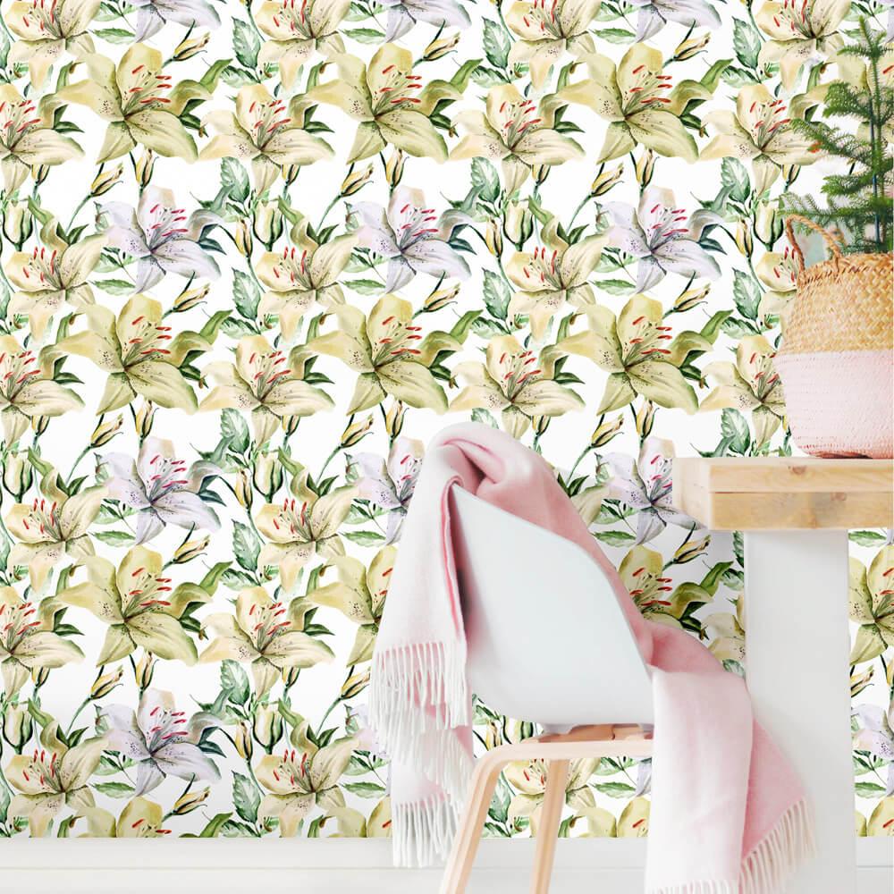 Papel de Parede Floral Lírios Verde e Cinza