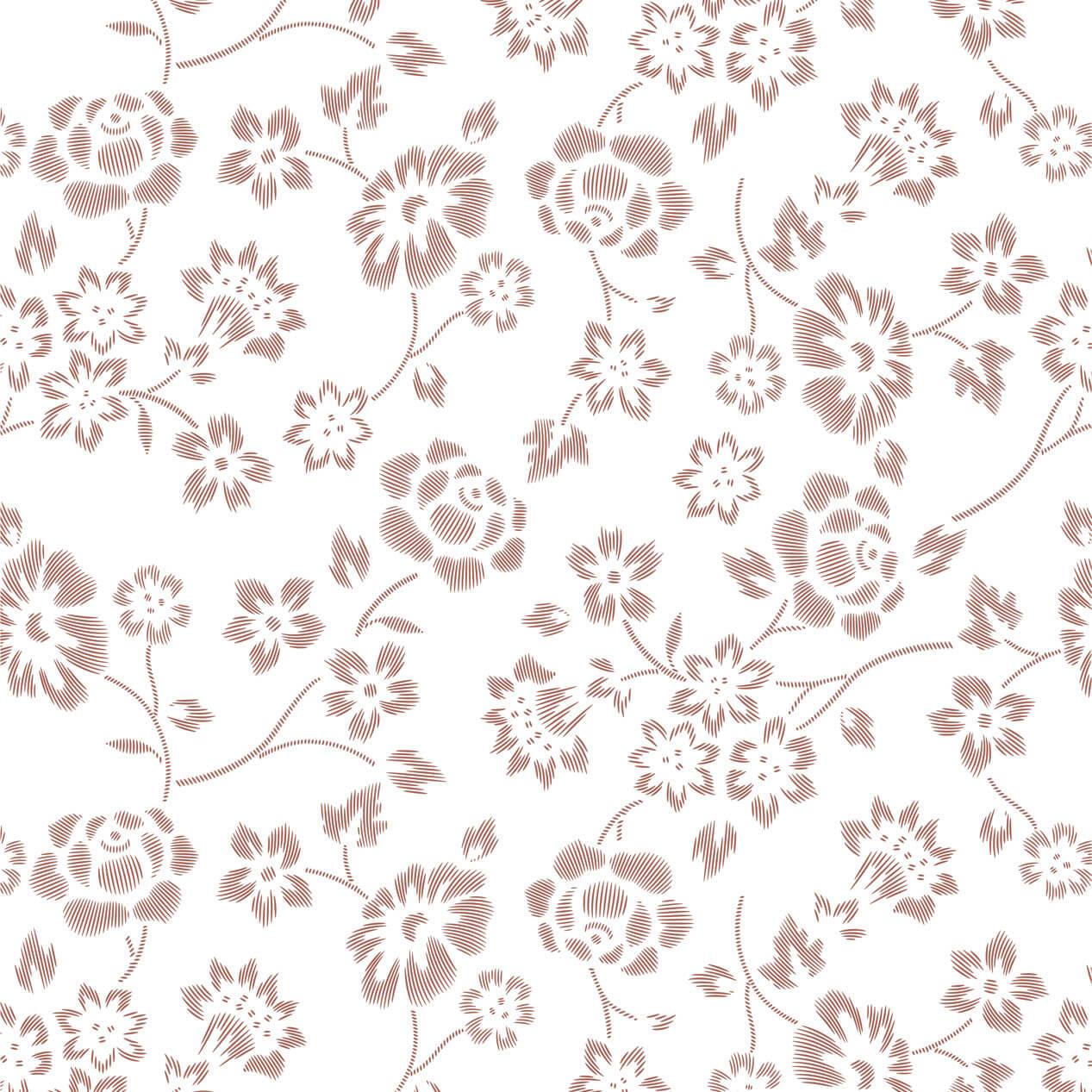 Papel de Parede Floral Marrom Desenho Riscas