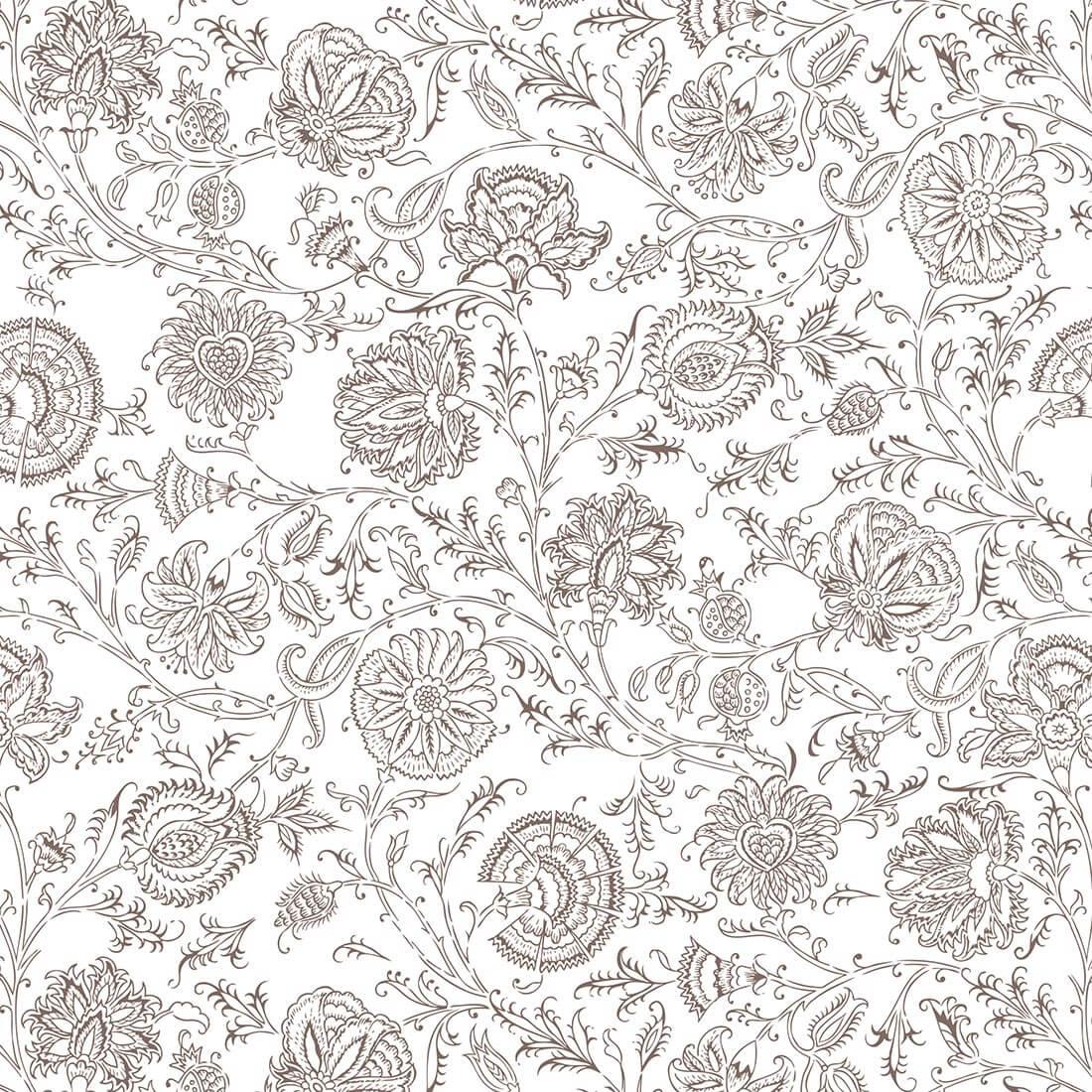 Papel de Parede Floral Marrom Fundo Branco