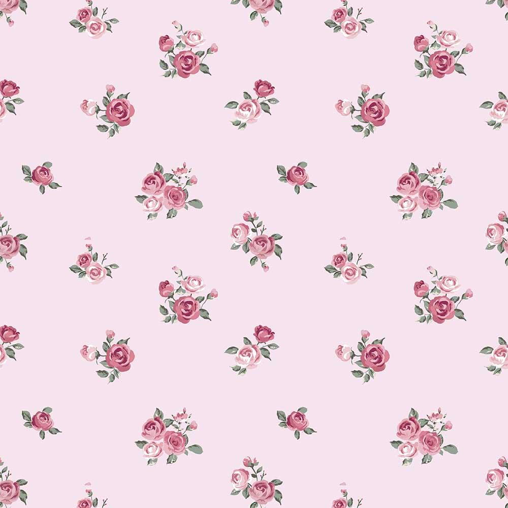 Papel de Parede Floral Mini Rosas Fundo Rosa