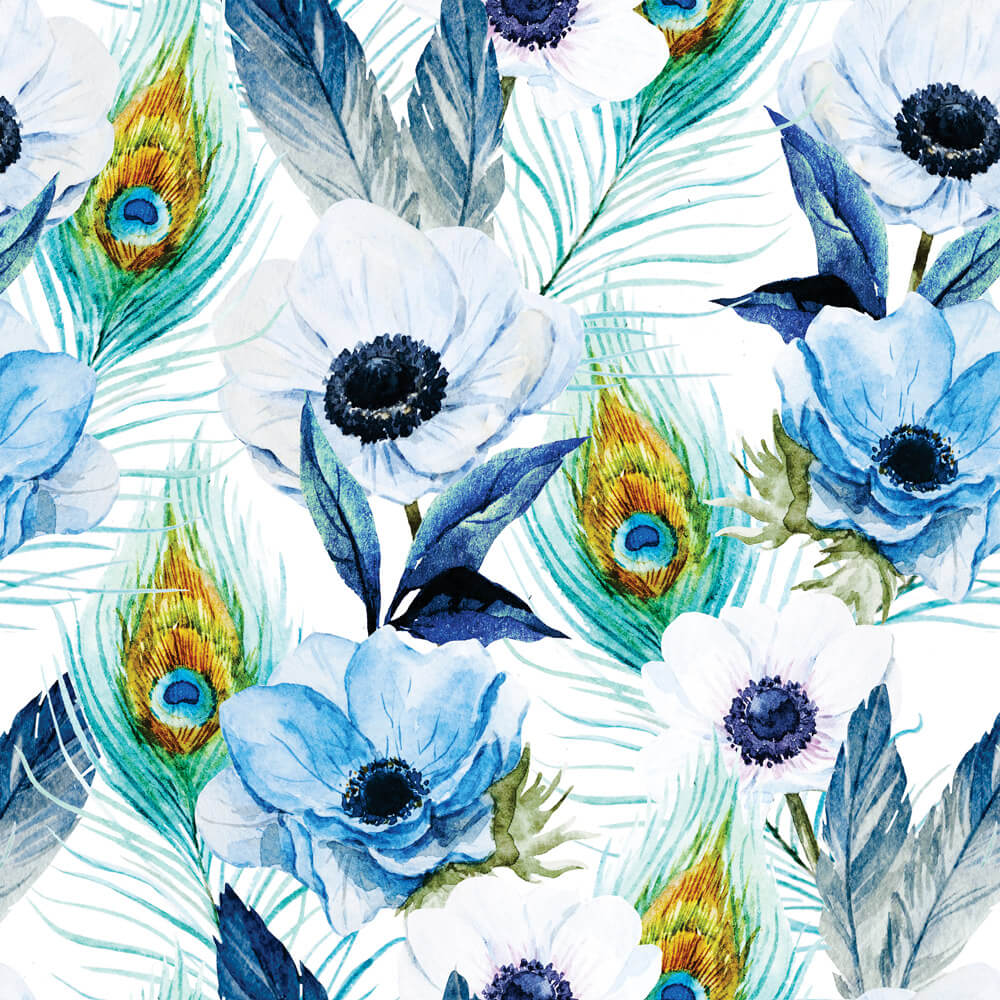 Papel de Parede Floral Penas De Pavão