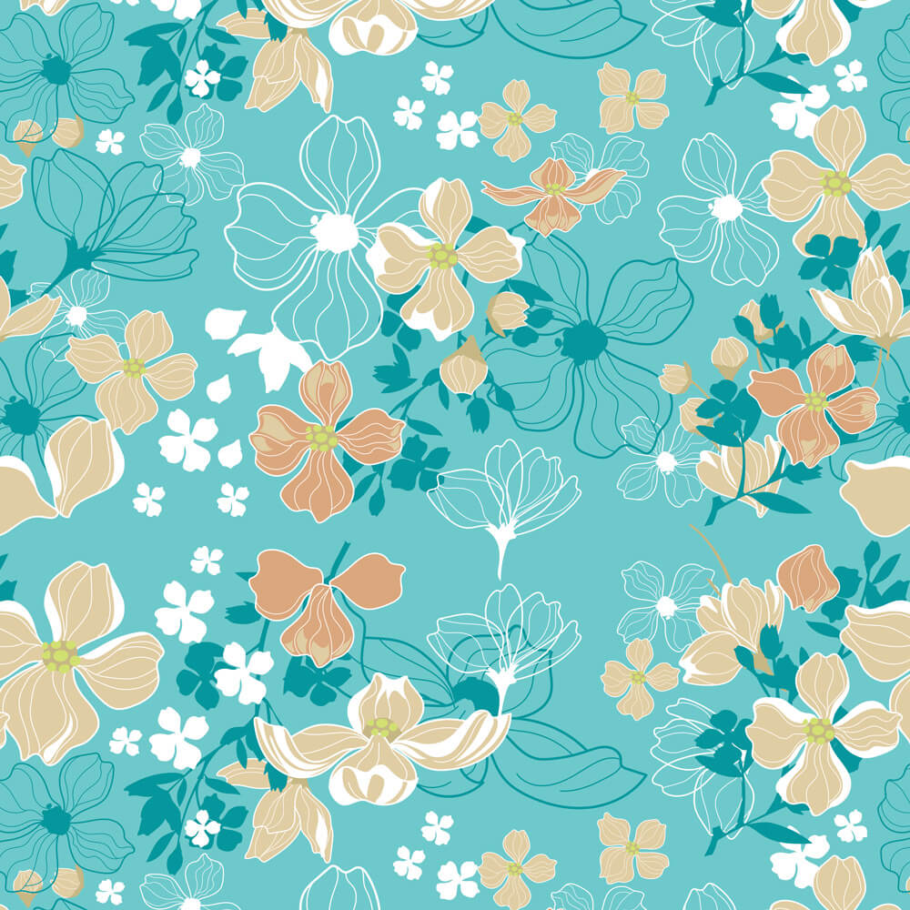 Papel de Parede Floral Primavera Azul e Bege