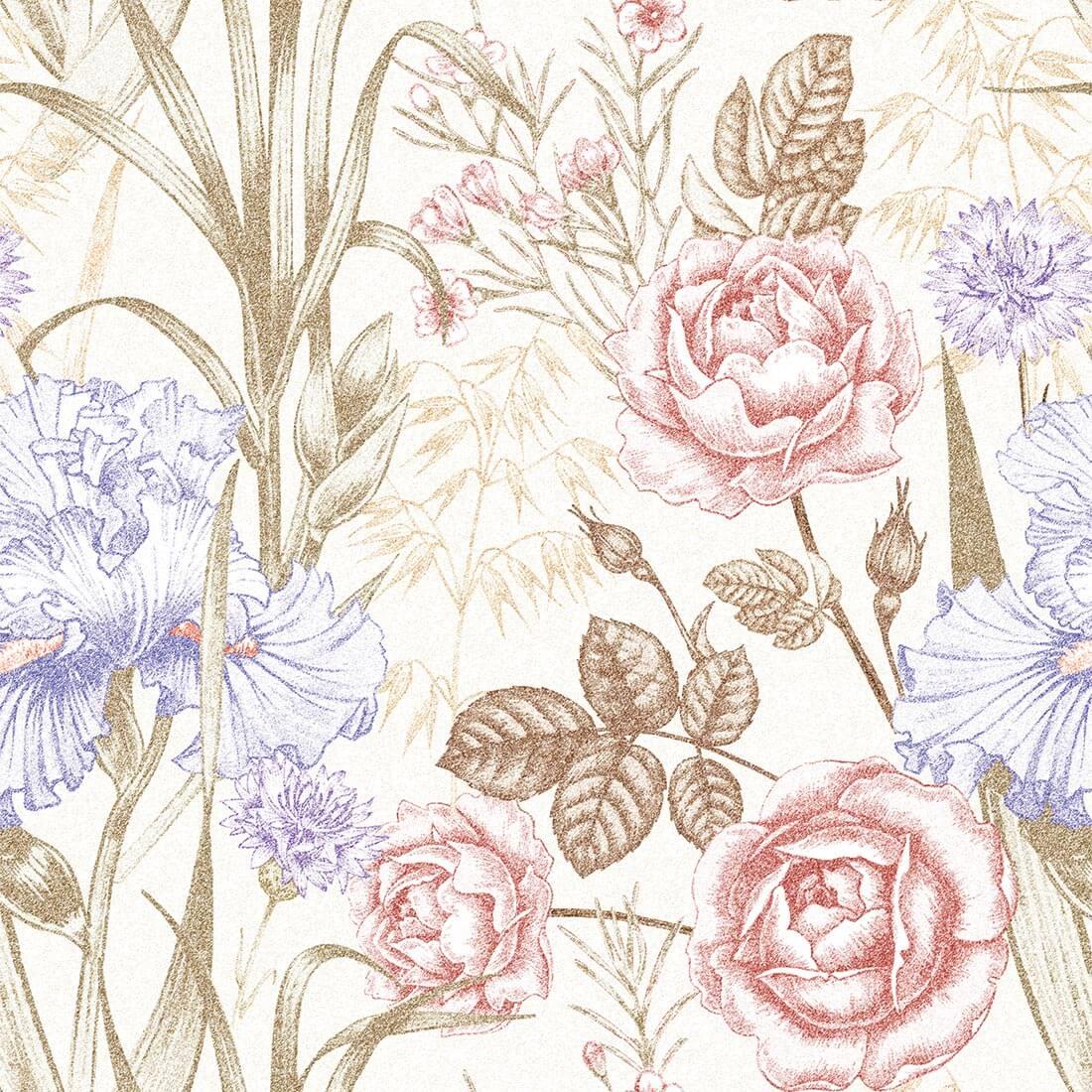 Papel de Parede Floral Primavera Tons Claros, Vermelho