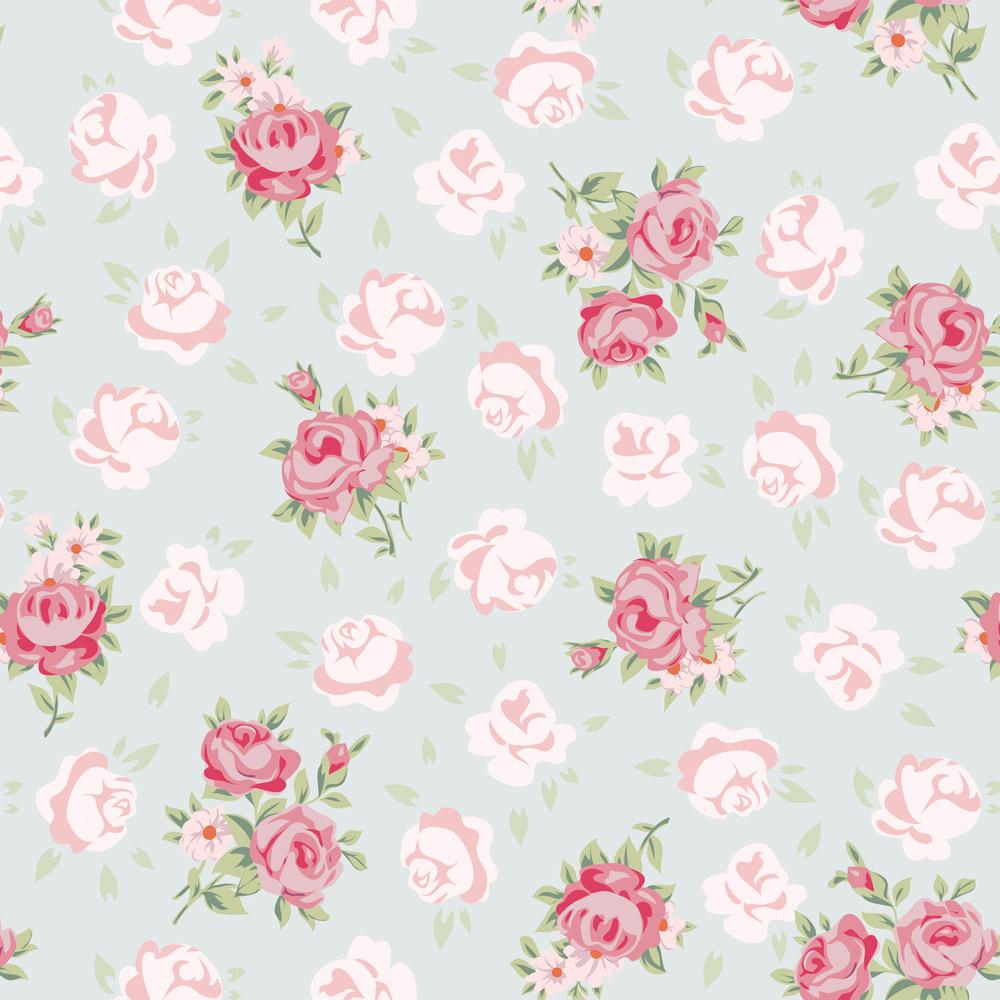 Papel de Parede Floral Romântico Tons De Rosa