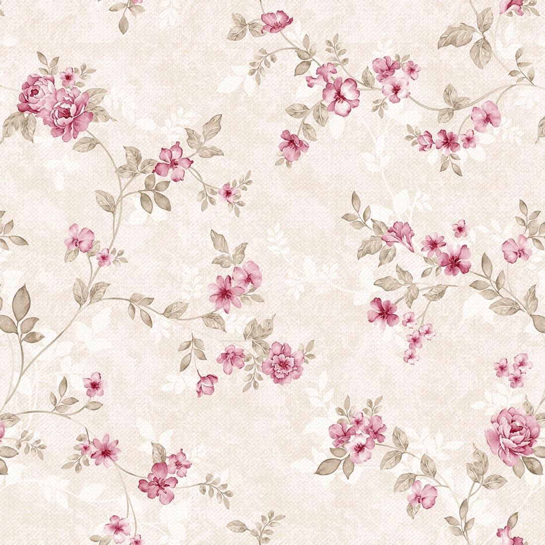 Papel de Parede Floral Rosa do Campo