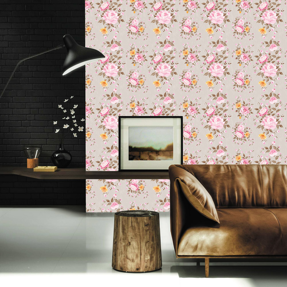 Papel de Parede Floral Rosa e Amarelo Fundo Nude