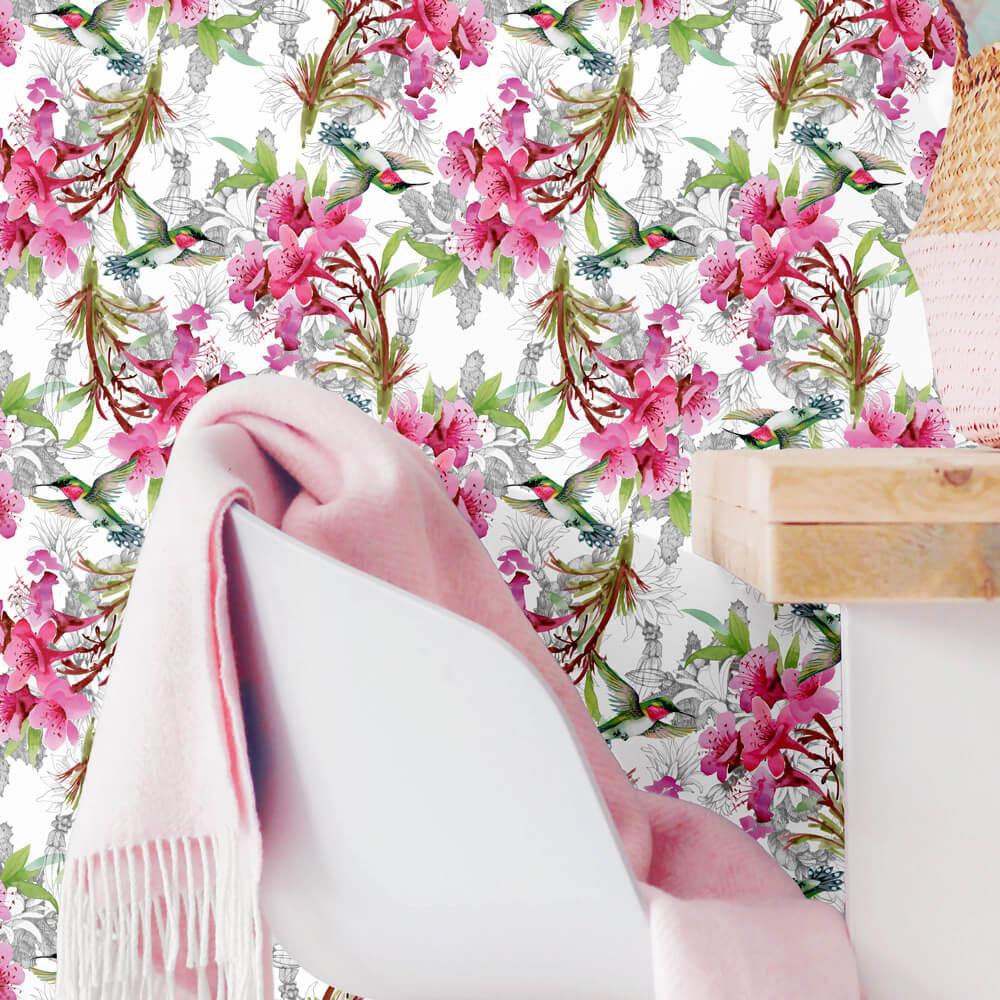 Papel de Parede Floral Rosa e Beija-flor