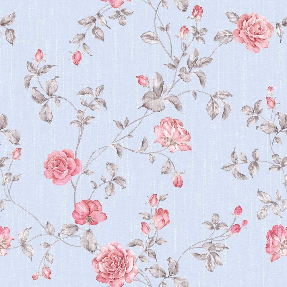 Papel de Parede Floral Rosa Fundo Azul