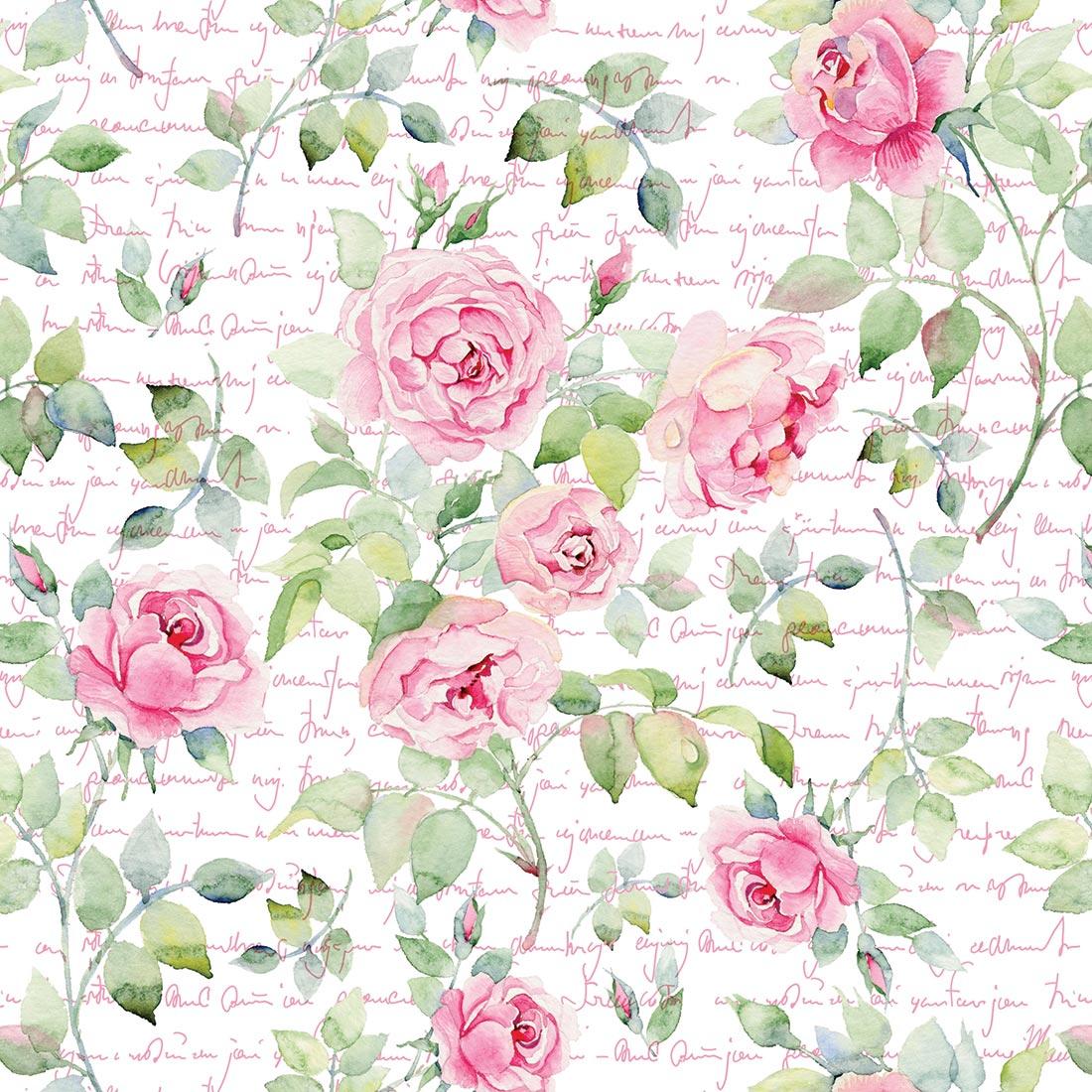 Papel de Parede Floral Rosa Fundo de Escritas