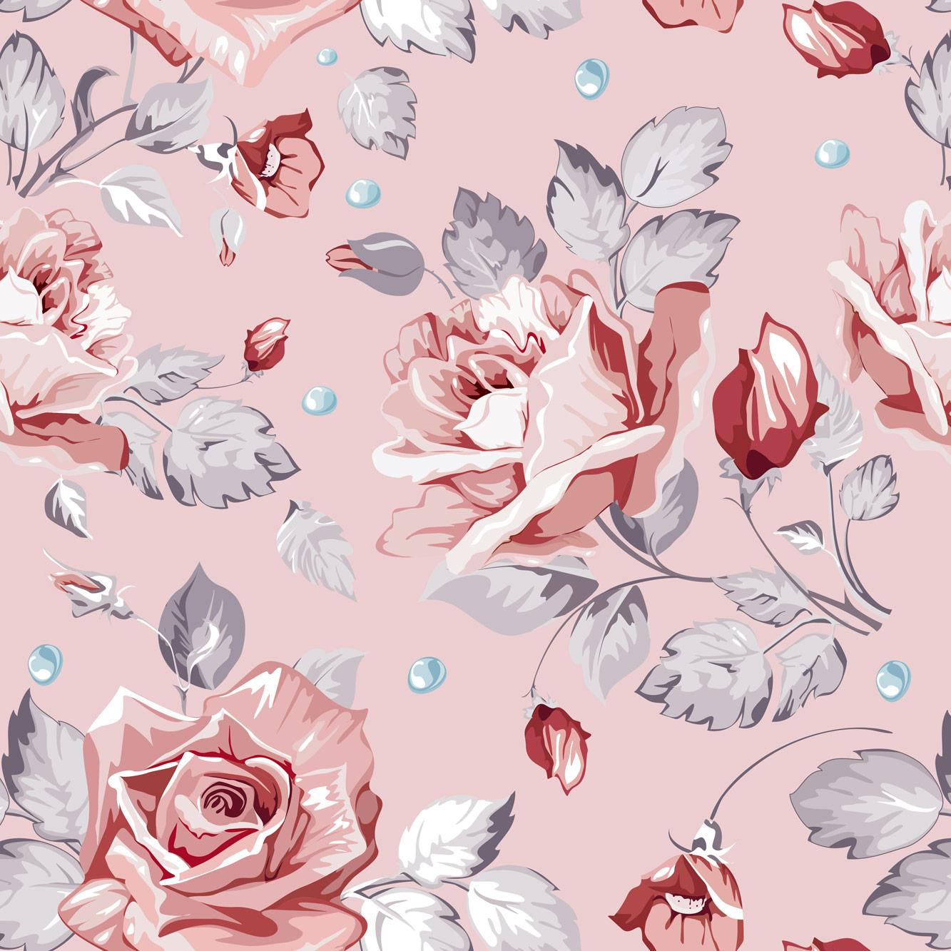 Papel de Parede Floral Rosa Fundo Rosa