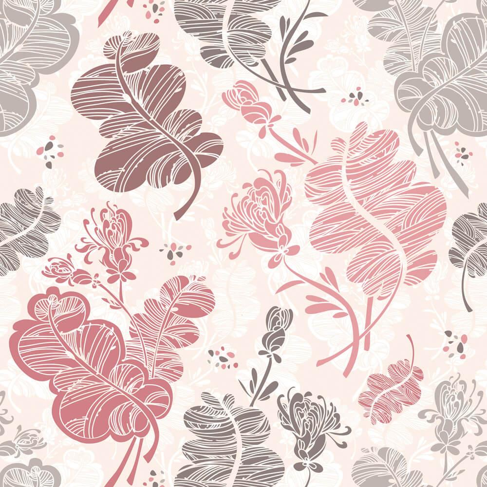 Papel de Parede Floral Rosa, Marrom e Creme
