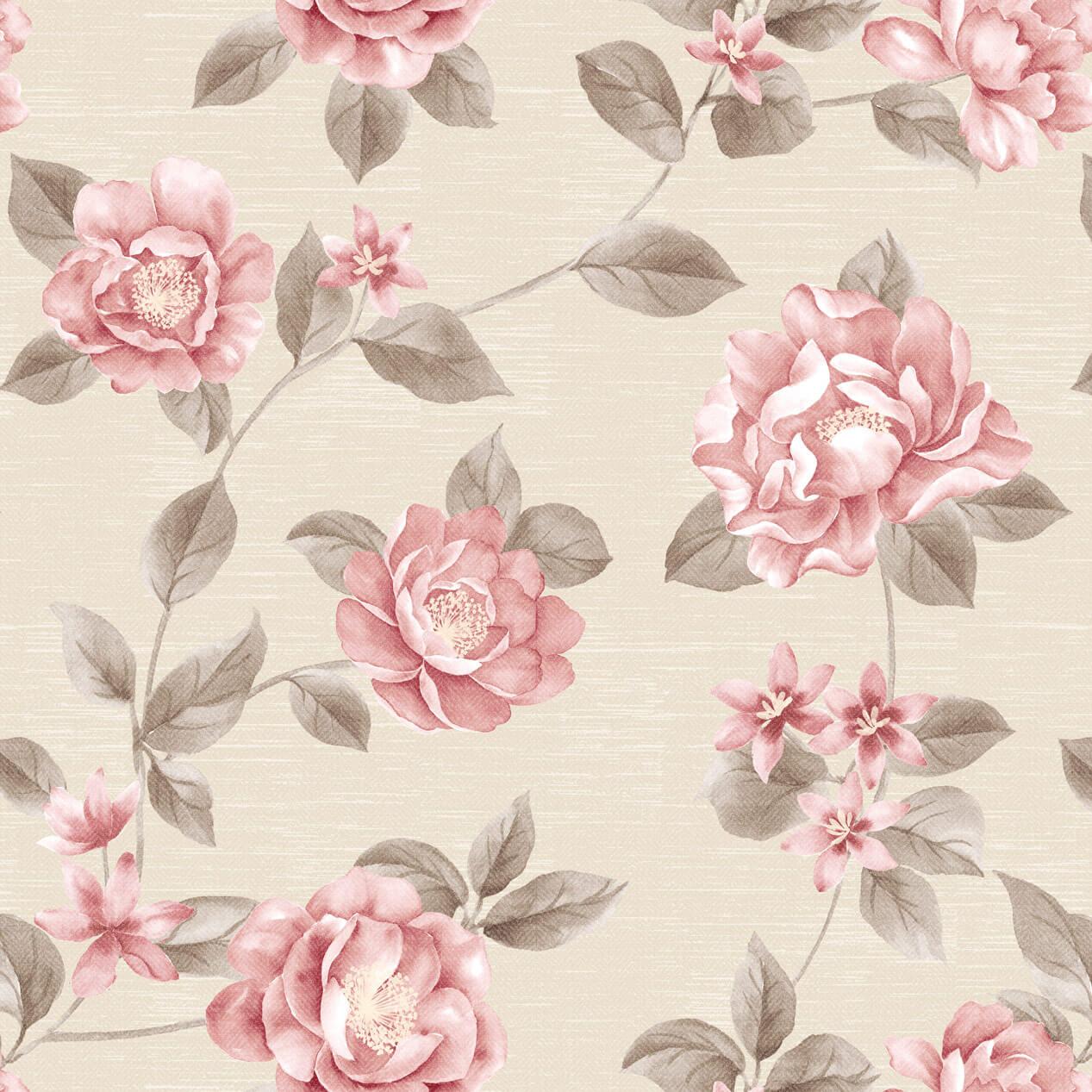 Papel de Parede Floral Rosa Pintada Fundo Bege