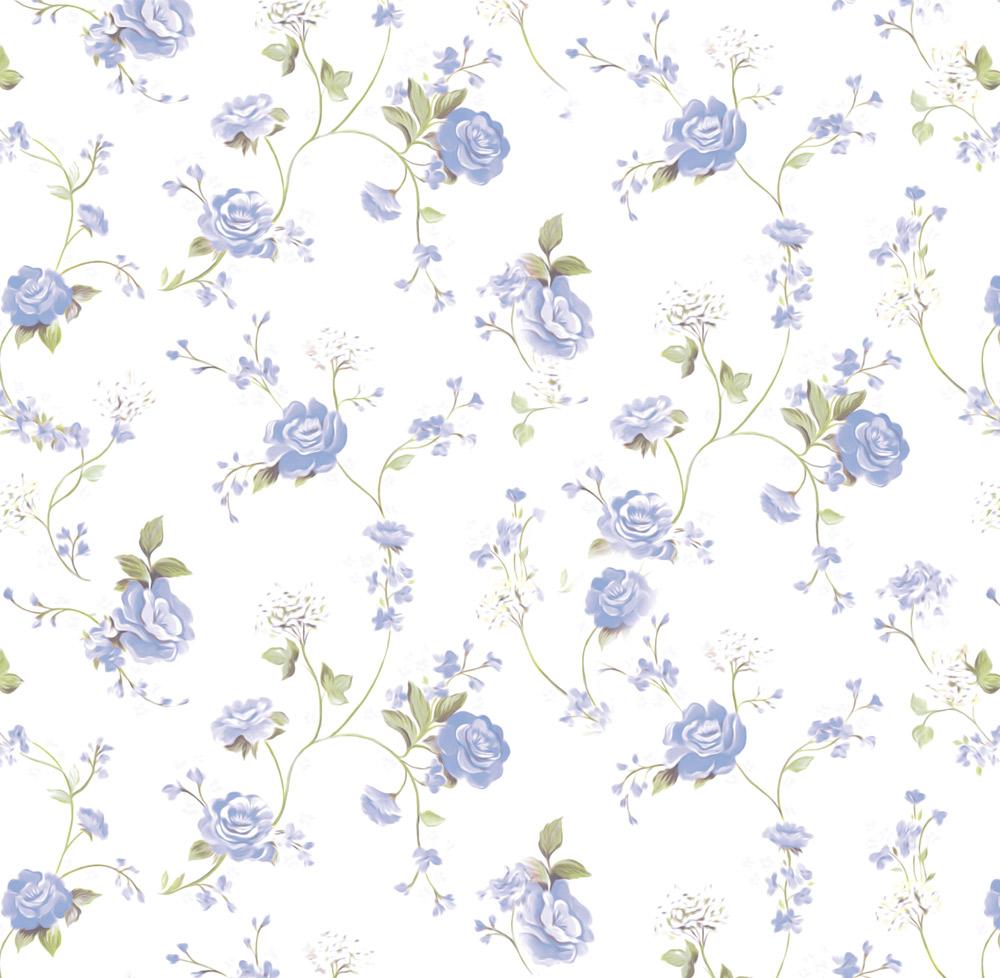 Papel de Parede Floral Rosas Azuis