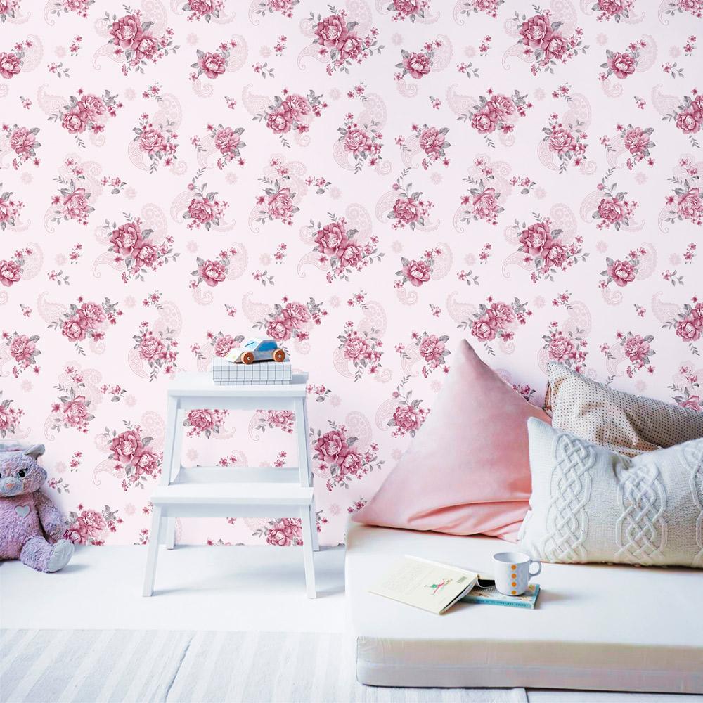 Papel de Parede Floral Rosas Com Arabesco