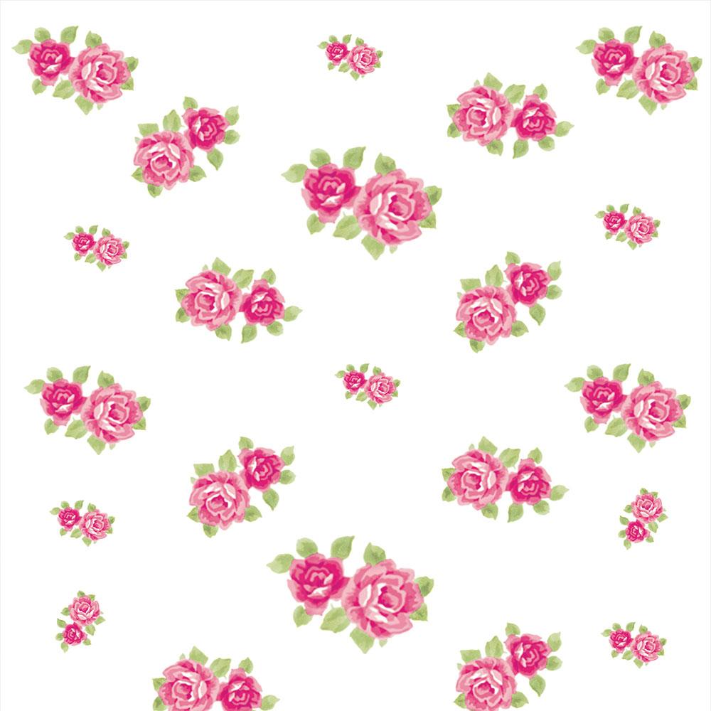 Papel de Parede Floral Rosas Duplas no Branco
