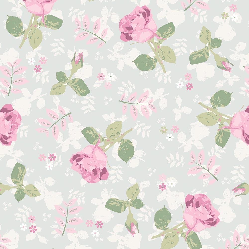 Papel de Parede Floral Rosas Fundo Cinza