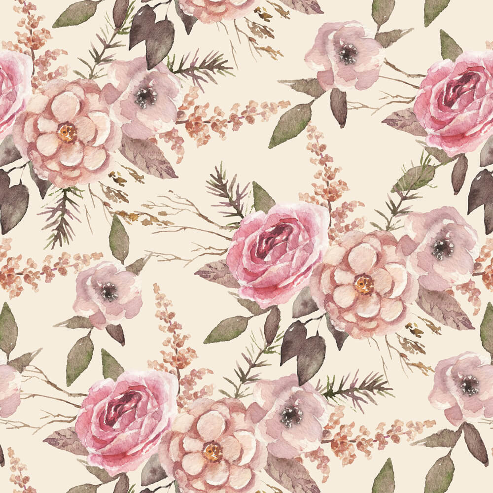 Papel de Parede Floral Rosas No Fundo Creme