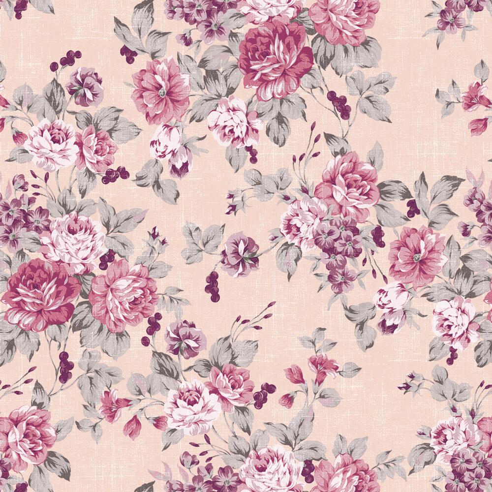 Papel de Parede Floral Sofisticado Lilás e Rosa
