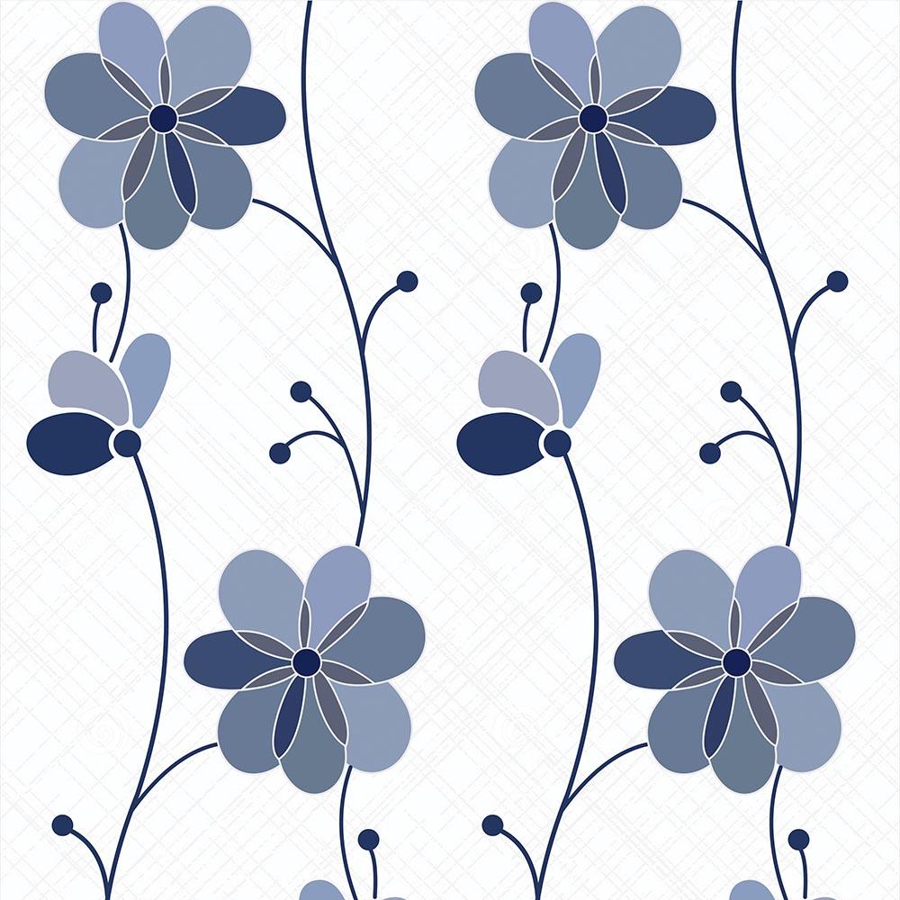 Papel de Parede Floral Tons de Azul