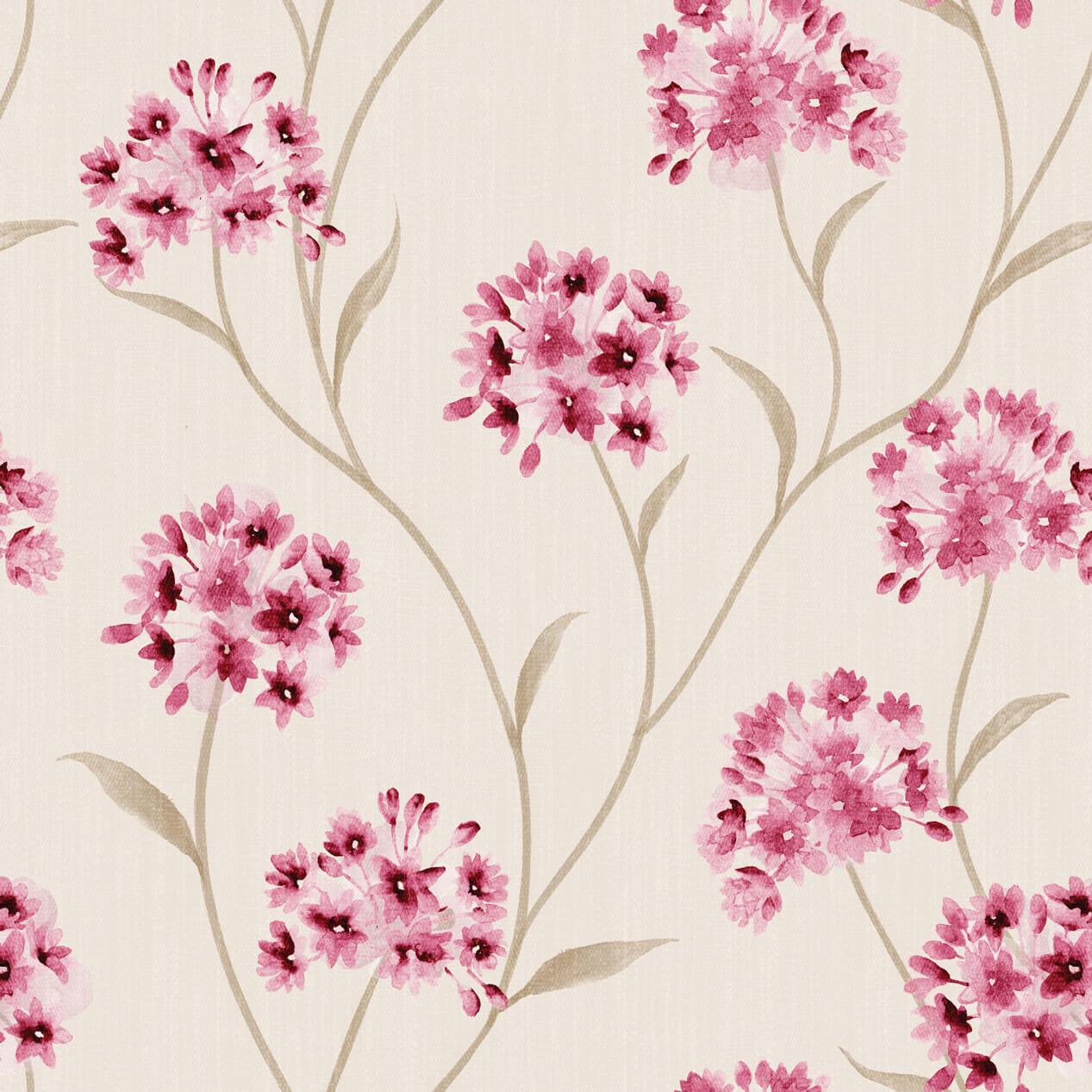 Papel de Parede Floral Tons de Rosa Fundo Creme