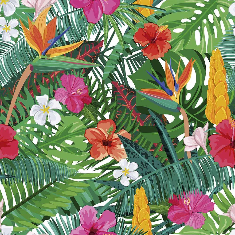 Papel de Parede Floral Tropical Colorido