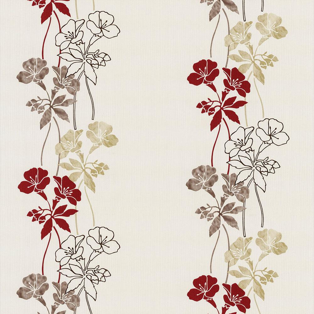 Papel de Parede Floral Vermelho Fundo Bege