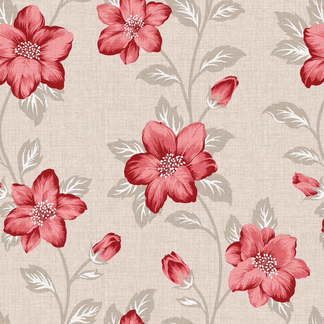 Papel de Parede Floral Vermelho Fundo Nude