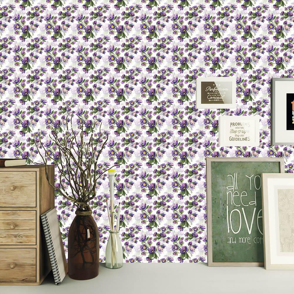 Papel de Parede Floral Violeta Galhos Verdes