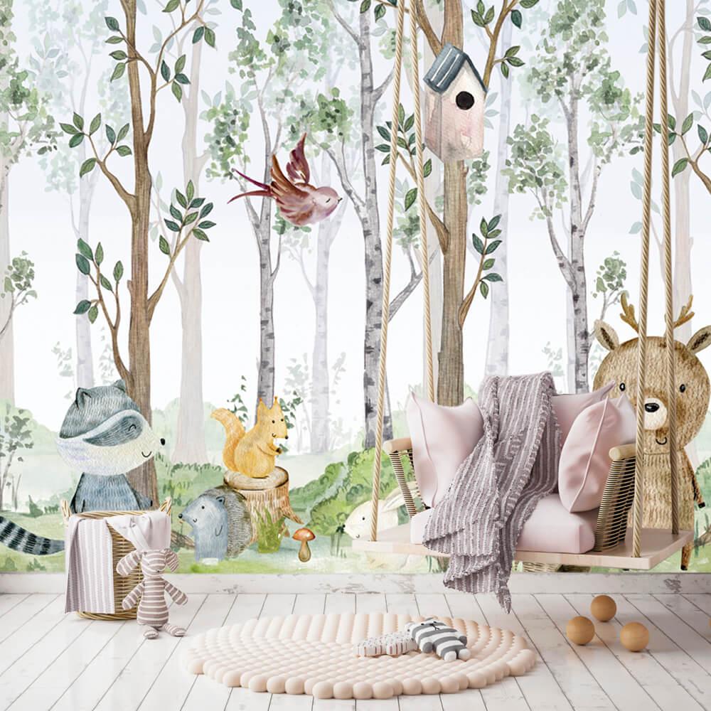 Papel de Parede Foto Mural Infantil Animais, Floresta e Urso