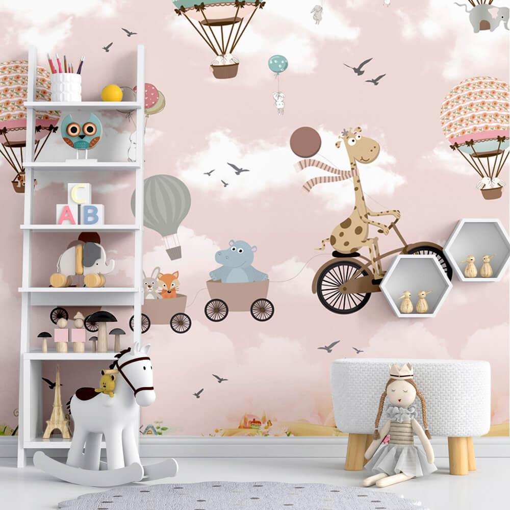 Papel de Parede Foto Mural Infantil Balão, Bicicleta, Girrada, Hipopótamo e Coelho