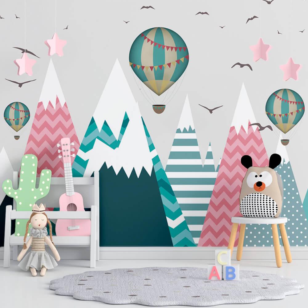 Papel de Parede Foto Mural Infantil Balão, Montanhas, Estrelas e Pássaros