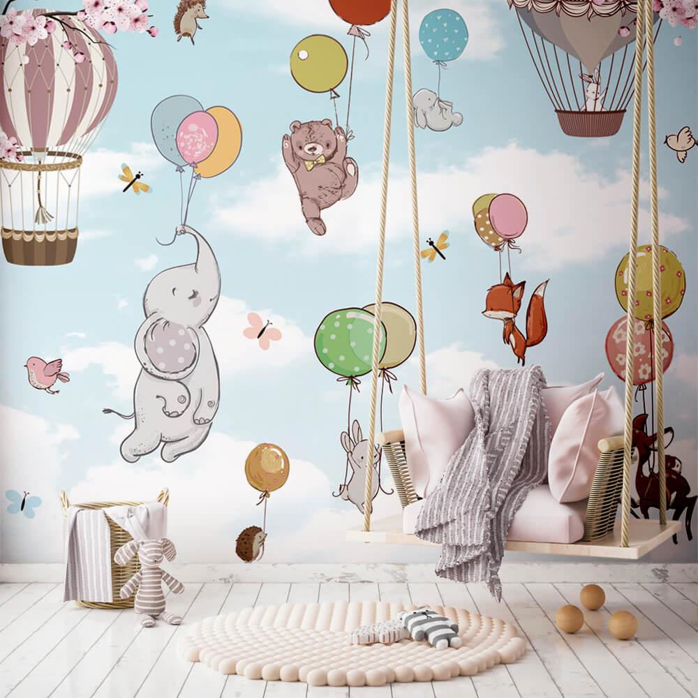 Papel de Parede Foto Mural Infantil Balões, Animais, Elefante, Urso, Raposa, Pássaros e Borboletas