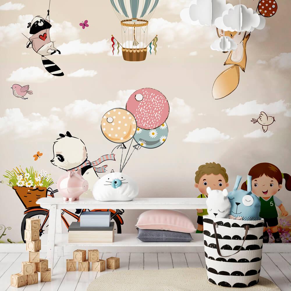 Papel de Parede Foto Mural Infantil Balões, Bicicleta, Boy e Girl