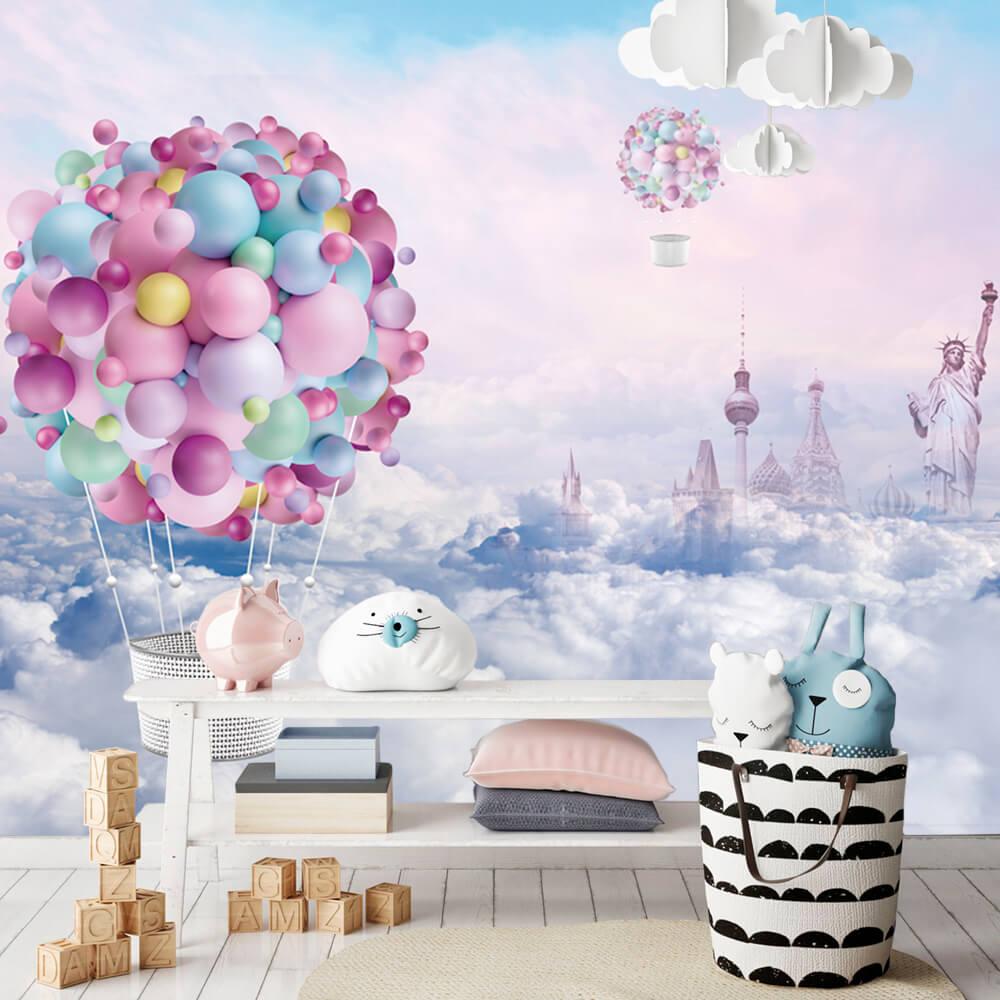 Papel de Parede Foto Mural Infantil Céu de Nuvens e Balões Coloridos