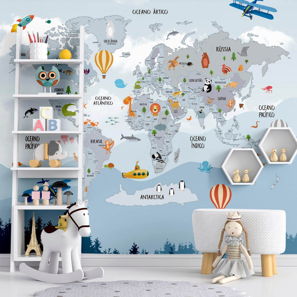 Papel de Parede Foto Mural Infantil Mapa Mundi, Avião, Balão, Foguete e Animais