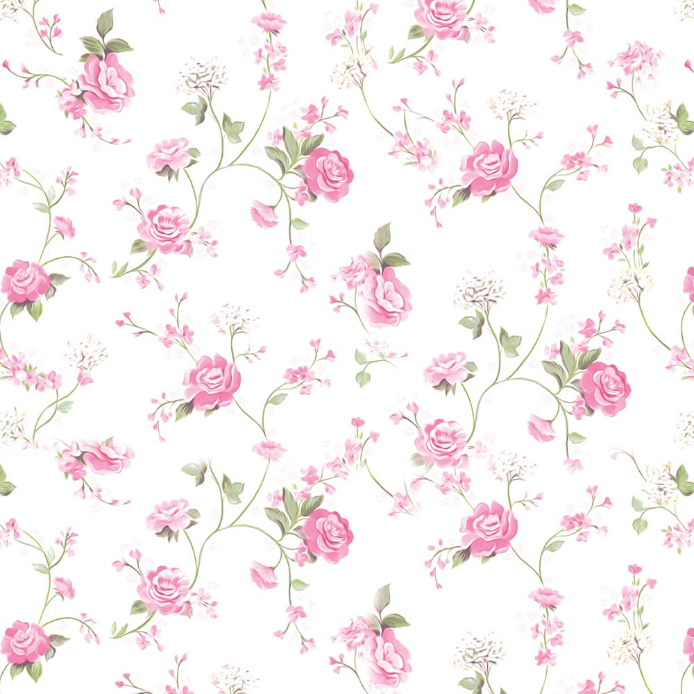 Papel de Parede Galhos Verdes, Flores Rosas Sobre Fundo Branco