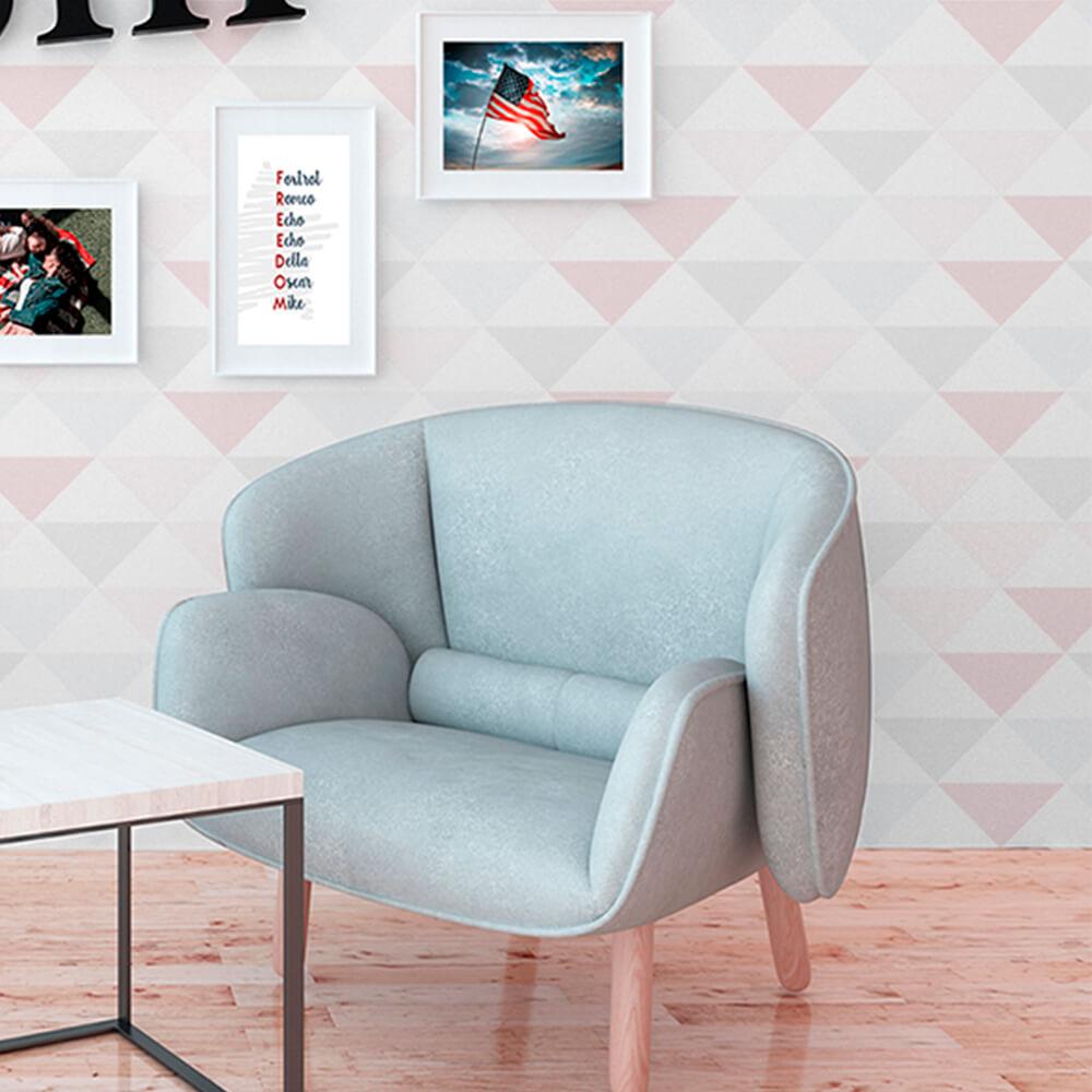 Papel de Parede Geométrico Abstrato Triângulos Rosa, Cinza e Branco