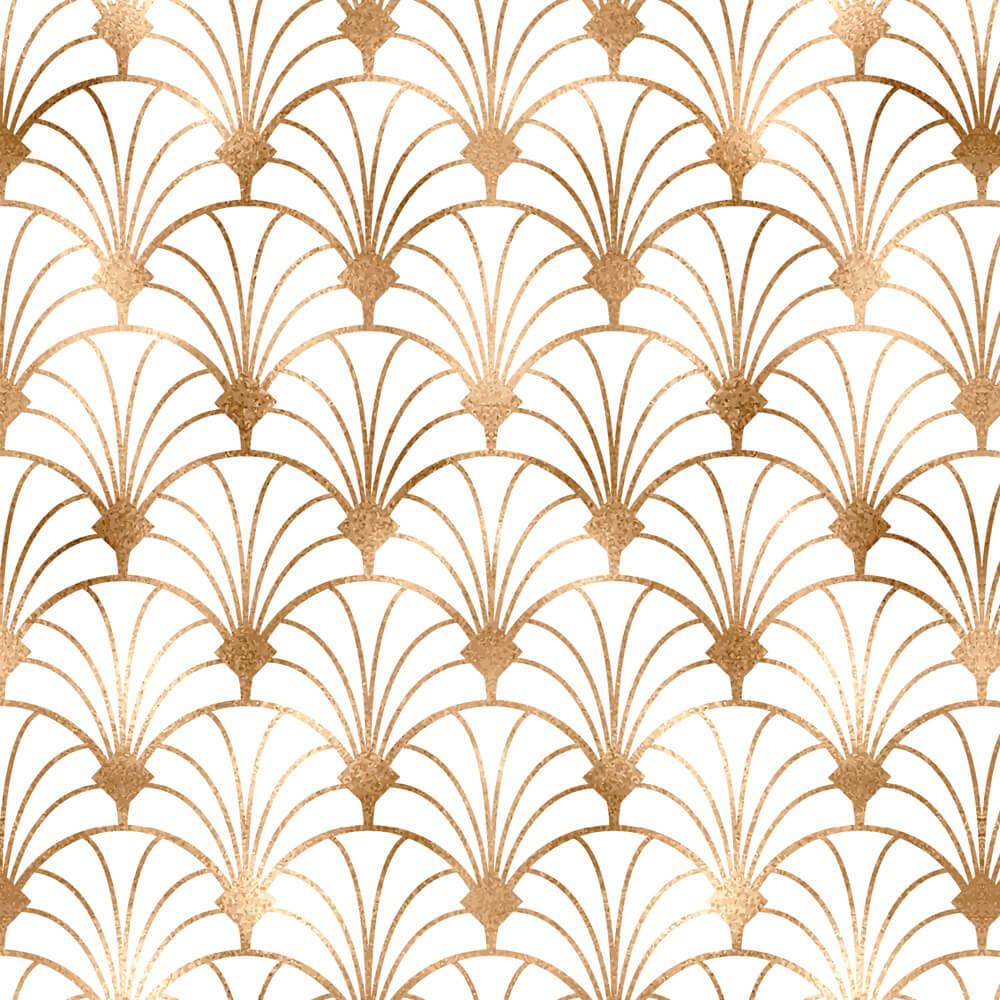 Papel de Parede Geométrico Arabesco Efeito Dourado