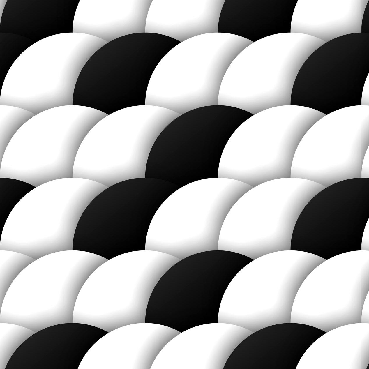 Papel de Parede Geométrico Bolas Branco e Preto